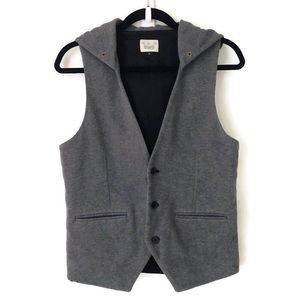 River Island Gray Hooded Vest Small